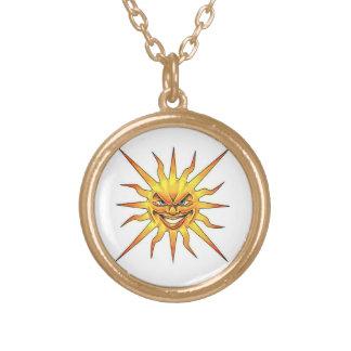 Cool cartoon tattoo symbol evil Sun face Round Pendant Necklace