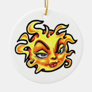 Cool cartoon tattoo symbol Female Lady Sun Ceramic Ornament