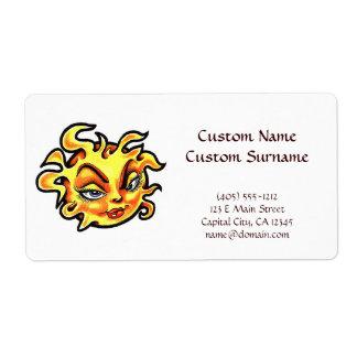 Cool cartoon tattoo symbol Female Lady Sun Label
