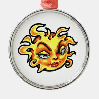 Cool cartoon tattoo symbol Female Lady Sun Metal Ornament