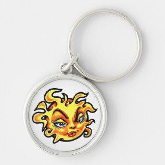 Cool cartoon tattoo symbol Female Lady Sun Silver-Colored Round Keychain