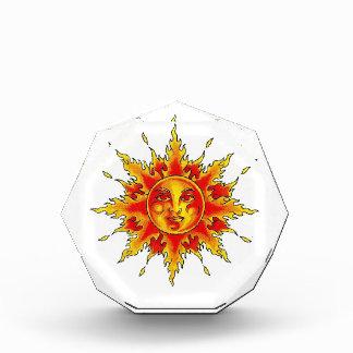 Cool cartoon tattoo symbol female Sun face Award
