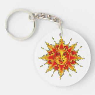 Cool cartoon tattoo symbol female Sun face Keychain