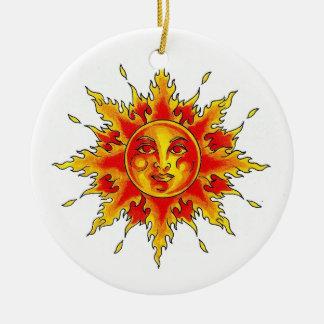 Cool cartoon tattoo symbol female Sun face Christmas Ornament