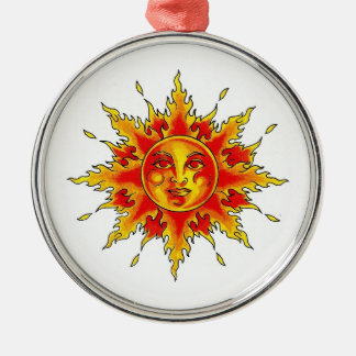 Cool cartoon tattoo symbol female Sun face Ornaments