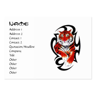 Cool cartoon tattoo symbol feral Tribal Tiger Large Business Cards (Pack Of 100)