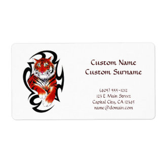 Cool cartoon tattoo symbol feral Tribal Tiger Label