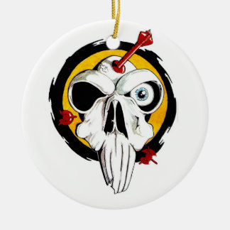 Cool cartoon tattoo symbol funny skull arrows ceramic ornament