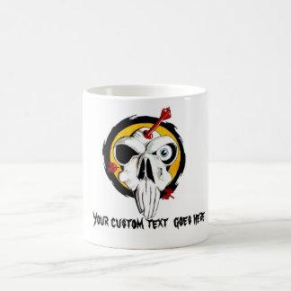 Cool cartoon tattoo symbol funny skull arrows coffee mug