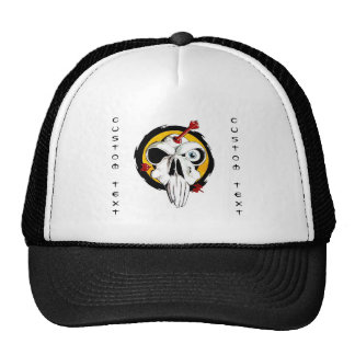 Cool cartoon tattoo symbol funny skull arrows trucker hat