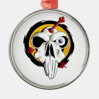 Cool cartoon tattoo symbol funny skull arrows metal ornament