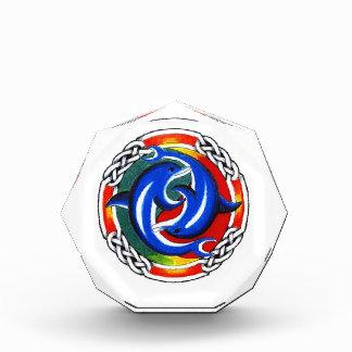 Cool cartoon tattoo symbol  gemini dolphin twin acrylic award