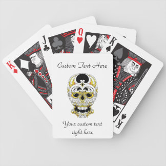 Cool cartoon tattoo symbol gothic ornament skull playing cards