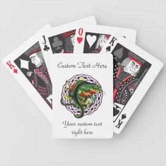 Cool cartoon tattoo symbol green lizard tribal bicycle playing cards