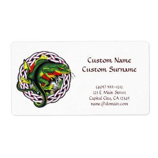 Cool cartoon tattoo symbol green lizard tribal label