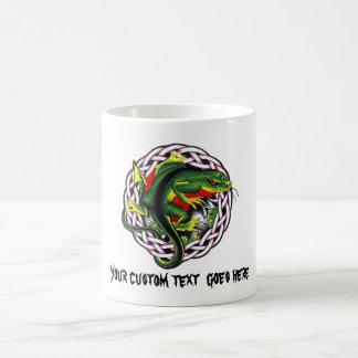 Cool cartoon tattoo symbol green lizard tribal coffee mugs