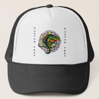 Cool cartoon tattoo symbol green lizard tribal trucker hat