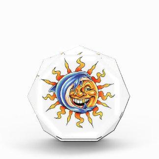 Cool cartoon tattoo symbol happy Sun face Dolphin Acrylic Award
