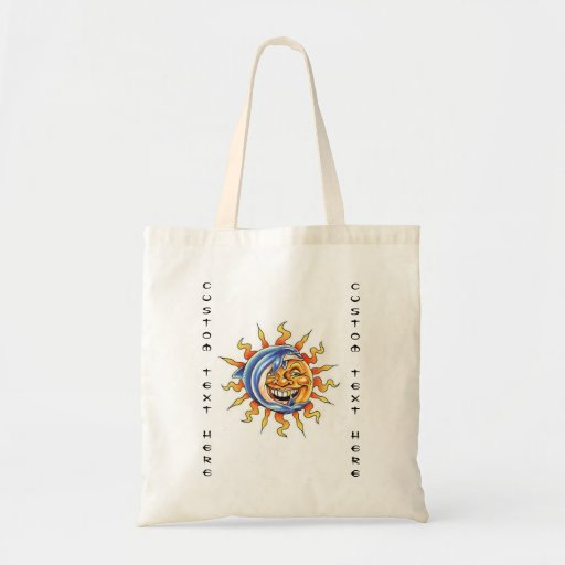 Cool cartoon tattoo symbol happy Sun face Dolphin Bags