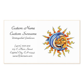Cool cartoon tattoo symbol happy Sun face Dolphin Double-Sided Standard Business Cards (Pack Of 100)