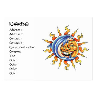 Cool cartoon tattoo symbol happy Sun face Dolphin Large Business Cards (Pack Of 100)