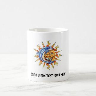 Cool cartoon tattoo symbol happy Sun face Dolphin Classic White Coffee Mug