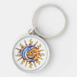 Cool cartoon tattoo symbol happy Sun face Dolphin Keychain