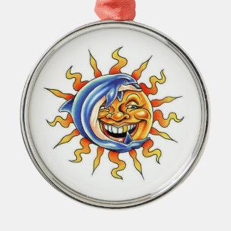 Cool cartoon tattoo symbol happy Sun face Dolphin Christmas Ornament