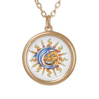 Cool cartoon tattoo symbol happy Sun face Dolphin Round Pendant Necklace