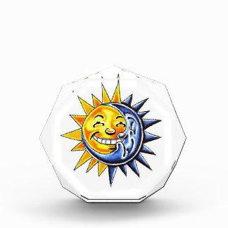 Cool cartoon tattoo symbol happy sun moon face award