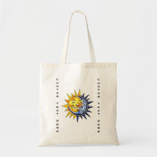 Cool cartoon tattoo symbol happy sun moon face bags