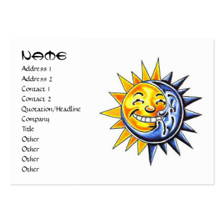 Cool cartoon tattoo symbol happy sun moon face large business cards (Pack of 100)