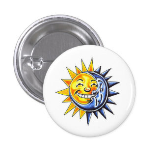 Cool cartoon tattoo symbol happy sun moon face button