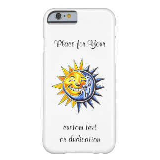 Cool cartoon tattoo symbol happy sun moon face barely there iPhone 6 case