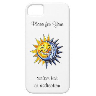 Cool cartoon tattoo symbol happy sun moon face iPhone 5 cases