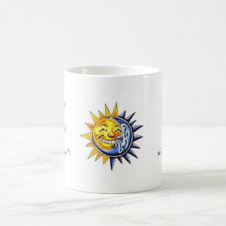 Cool cartoon tattoo symbol happy sun moon face classic white coffee mug