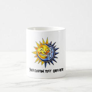 Cool cartoon tattoo symbol happy sun moon face coffee mug