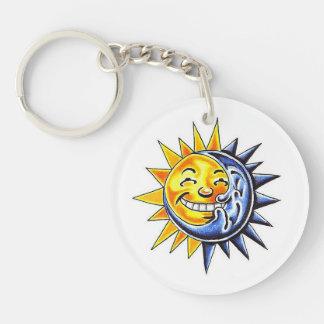 Cool cartoon tattoo symbol happy sun moon face keychain
