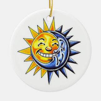 Cool cartoon tattoo symbol happy sun moon face christmas ornament