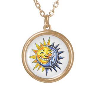 Cool cartoon tattoo symbol happy sun moon face round pendant necklace