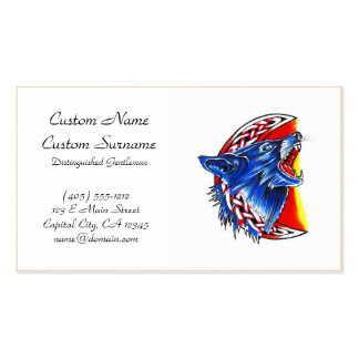 Cool cartoon tattoo symbol howling feral woolf Double-Sided standard business cards (Pack of 100)