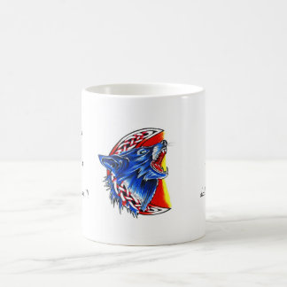 Cool cartoon tattoo symbol howling feral woolf coffee mug