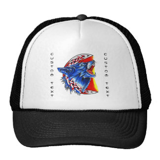 Cool cartoon tattoo symbol howling feral woolf trucker hat