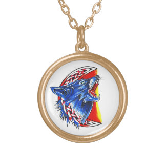 Cool cartoon tattoo symbol howling feral woolf personalized necklace