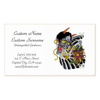 Cool cartoon tattoo symbol japanese demon flower business card