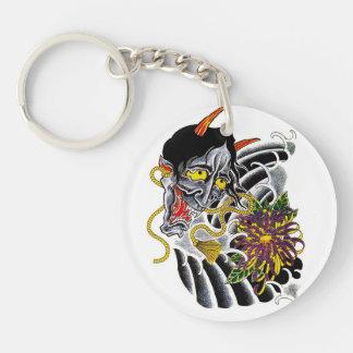 Cool cartoon tattoo symbol japanese demon flower Double-Sided round acrylic keychain