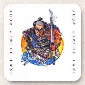 Cool cartoon tattoo symbol japanese Samurai Katana Drink Coaster