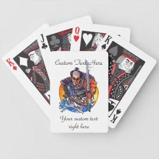 Cool cartoon tattoo symbol japanese Samurai Katana Poker Cards