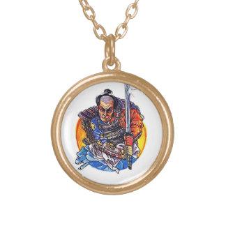 Cool cartoon tattoo symbol japanese Samurai Katana Round Pendant Necklace