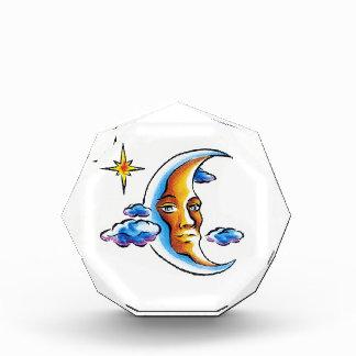 Cool cartoon tattoo symbol Moon face star clouds Acrylic Award